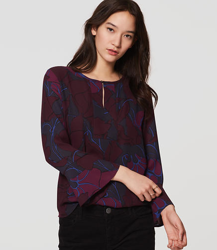 Image of Silky Floral Mixed Media Bell Sleeve Top