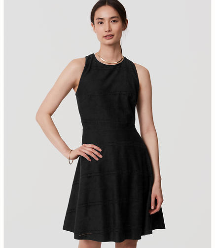 Image of Eyelet Striped Flare Dress