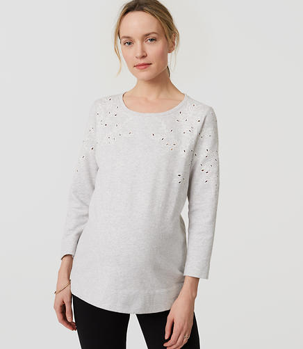 Image of Maternity Ivy Embroidered Sweatshirt