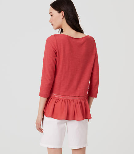 Image of Lacy Back Peplum Sweater