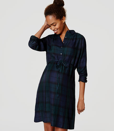 Image of Maternity Plaid Tie Waist Shirtdress