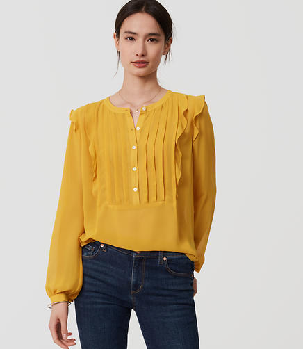 Image of Ruffle Pintucked Blouse