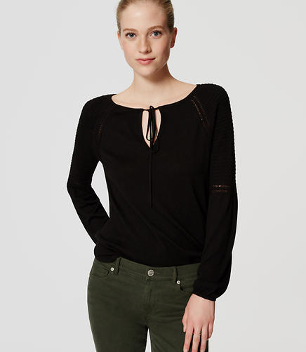 Image of Petite Tie Neck Sweater