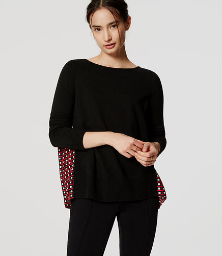 Image of Petite Square Stripe Pleated Sweater
