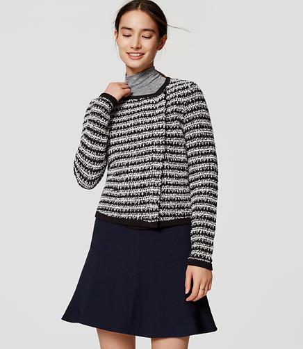 Image of Petite Striped Knit Moto Jacket