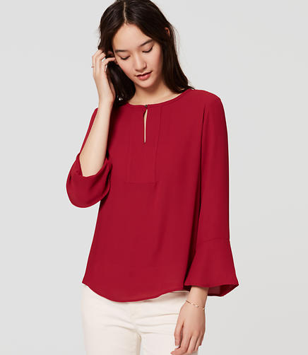 Image of Mixed Media Bell Sleeve Top