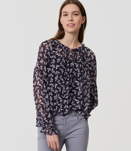 Image of Butterfly Ruffle Tie Neck Blouse