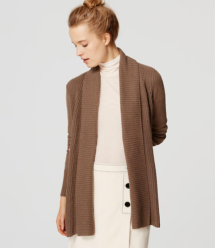 Image of Petite Mixed Ribbed Open Cardigan