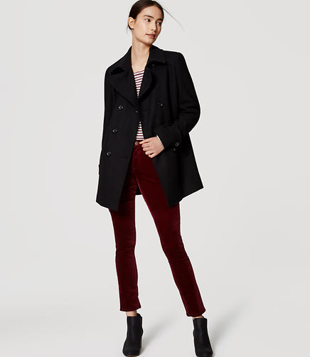 Image of Petite Back Pleat Peacoat