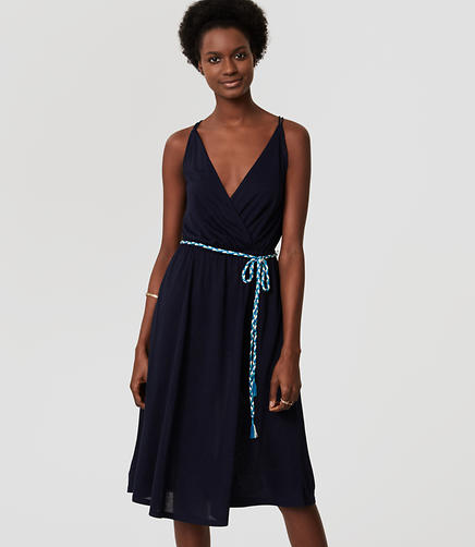 Image of LOFT Beach Braided Tie Waist Dress