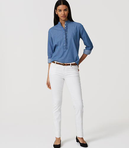 Image of Modern Frayed Cuff Straight Leg Jeans in White