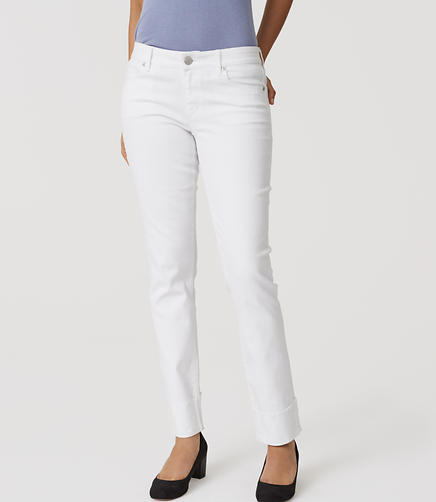 Image of Curvy Frayed Cuff Straight Leg Jeans in White