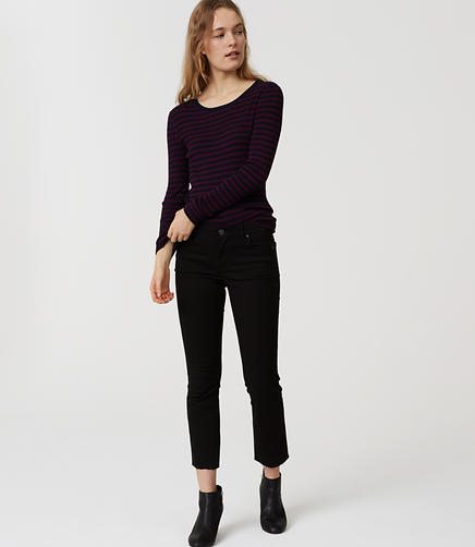 Image of Modern Frayed Flare Crop Jeans in Black