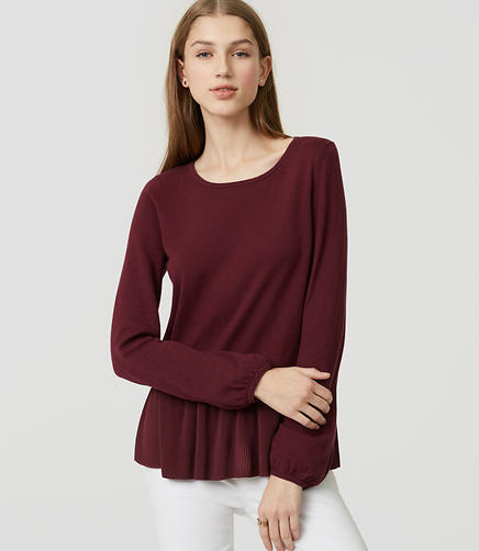 Image of Petite Mixed Media Peplum Sweater