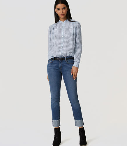 Image of Modern Frayed Cuff Straight Leg Jeans in Medium Blue Wash