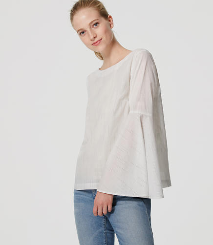 Image of Striped Bell Sleeve Shirt