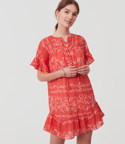 Image of LOFT Beach Vine Lace Up Flounce Dress