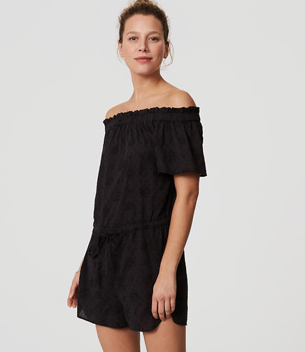 Image of LOFT Beach Eyelet Off the Shoulder Romper