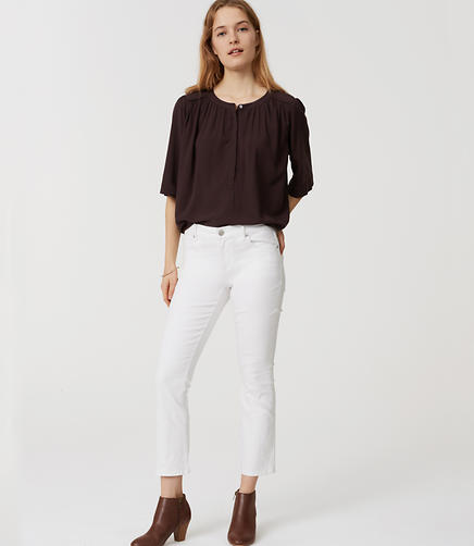Image of Modern Flare Crop Jeans in White