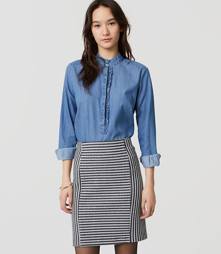 Image of Striped Knit Pull On Pencil Skirt