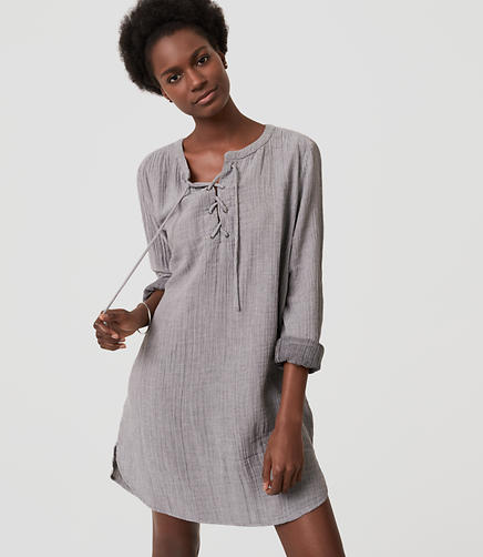 Image of LOFT Beach Striped Lace Up Shirtdress