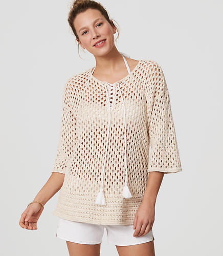 Image of LOFT Beach Lace Up Sweater
