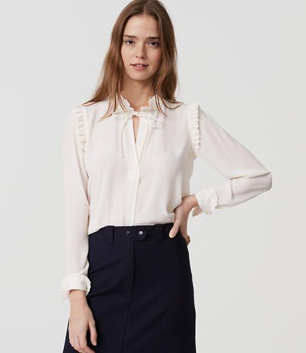 Image of Ruffle Tie Neck Blouse
