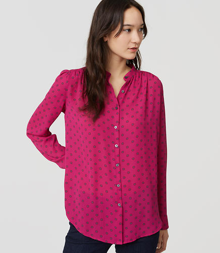 Image of Petite Dotted Puff Sleeve Blouse