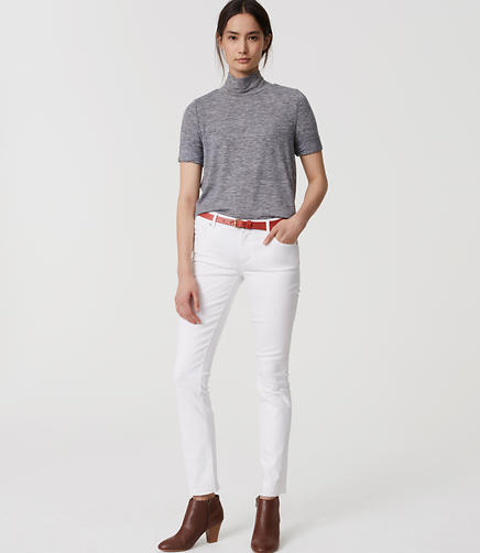 Image of Modern Frayed Slim Ankle Jeans in White