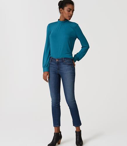 Image of Petite Modern Skinny Crop Jeans in Mid Stonewash