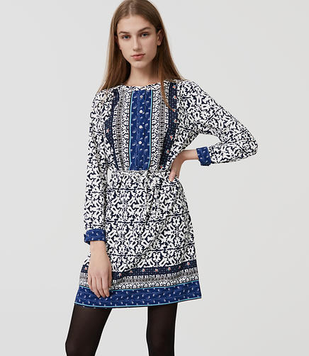 Image of Petite Floral Mosaic Shirtdress