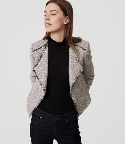 Image of Petite Fringe Tweed Jacket