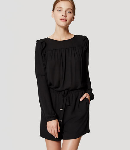 Image of Shoulder Ruffle Romper