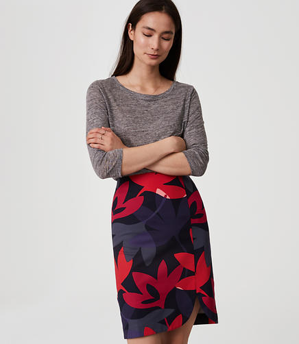 Image of Petite Fleur Curved Pencil Skirt