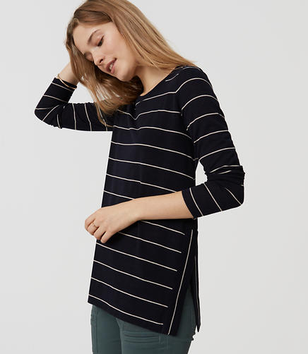 Image of Striped Slit Swing Tee
