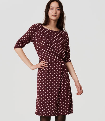 Image of Petite Dot Long Sleeve Dress