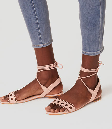Image of Cutout Lace Up Sandals