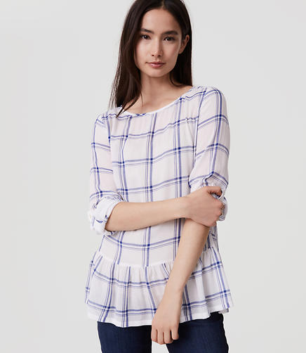 Image of Plaid Tab Sleeve Peplum Blouse