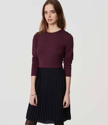 Image of Petite Pleated Skirt Dress