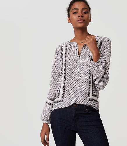 Image of Petite Mosaic Henley Blouse