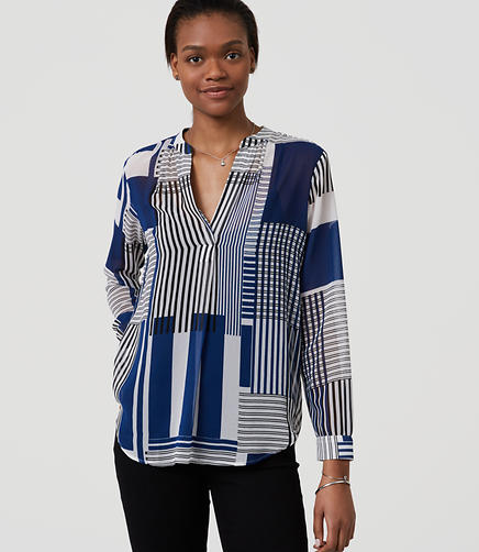 Image of Petite Stripeout Split Neck Blouse