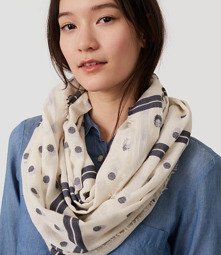 Image of Dot Stripe Infinity Scarf