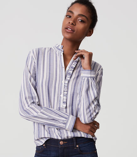 Image of Petite Striped Ruffle Henley Shirt