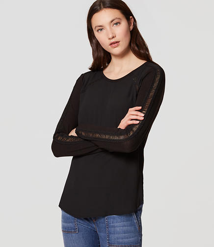 Image of Petite Lacy Mixed Media Shirttail Top