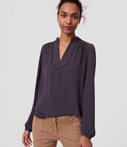 Image of Lacy Split Neck Blouse