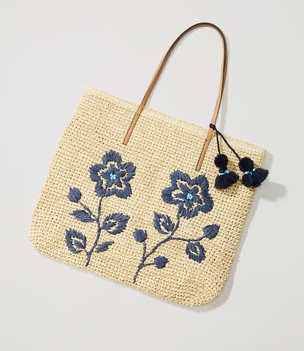Image of Floral Embroidered Straw Tote