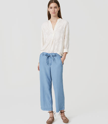 Image of Chambray Wide Leg Tie Waist Pants in Light Indigo Wash