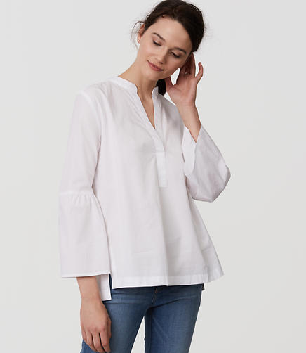 Image of Bell Sleeve Split Neck Softened Shirt