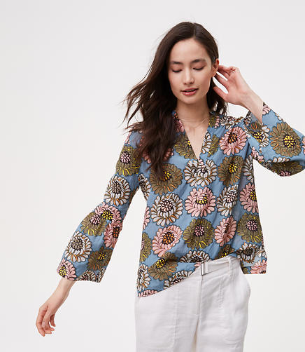 Image of Marigold Bell Sleeve Split Neck Softened Shirt