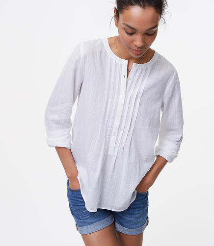 Image of Checked Pintucked Softened Shirt